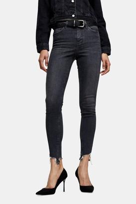 Topshop Womens Petite Washed Black Jagged Hem Jamie Skinny Jeans - Washed Black