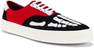 Amiri Skel Toe Lace Up Sneaker in Black & Red & White | FWRD