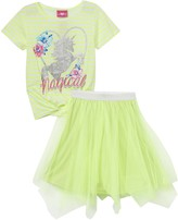 Girls Luv Pink Girls' Casual Skirts neon - Neon Green Stripe 'Magical' Tee & Tutu Skirt - Toddler