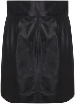 Dolce & Gabbana Leather A-Line Mini Skirt
