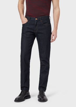 Giorgio Armani Tapered, Slim-Fit Jeans With Golden-Coloured Details