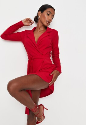 Missguided Red Basic Jersey Belted Blazer Dress