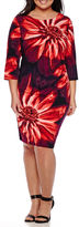 Ronni Nicole RN Studio by 3/4-Sleeve Floral Ruched Sheath Dress -Plus