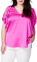 Rachel Roy Plus Size Women's Flutter Sleeve Top