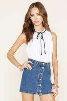 Forever 21 Self-Tie Crochet-Trim Top