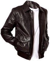 Leather Hub Men's Lambskin Leather Bomber Biker Leather Jacket