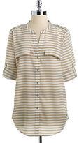 Calvin Klein Striped Roll-Tab Button-Down Blouse