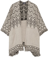 Splendid Jacquard-knit cotton-blend poncho