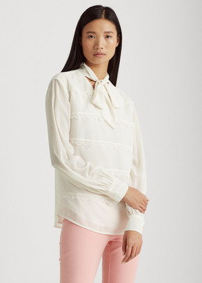 Ralph Lauren Lace-Trim Tie-Neck Blouse