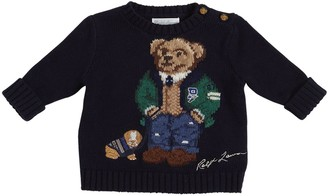 Ralph Lauren Bear Cotton Blend Intarsia Knit Sweater
