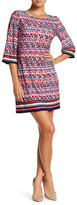 Eliza J 3/4 Sleeve Print Shift Dress (Petite)