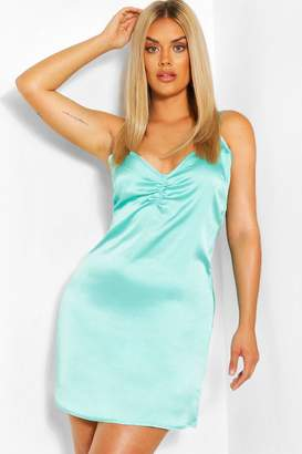 boohoo Plus Woven Notch Front Slip Dress
