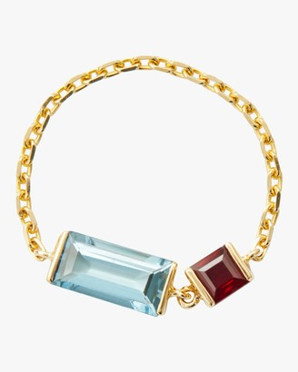Yi Collection Aquamarine and Ruby Chain Ring