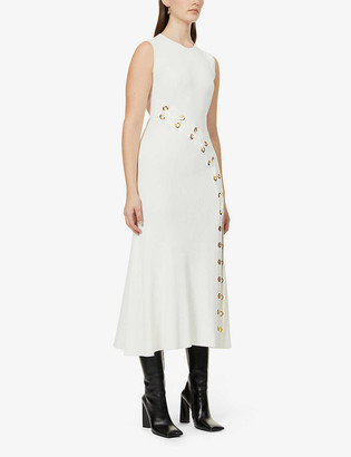 Alexander McQueen Eyelet-embellished stretch-knit maxi dress