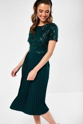 Iclothing iClothing Ariel Sequin Detail Occasion Dress in Dark Green