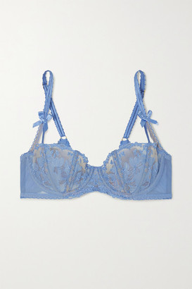 Agent Provocateur Florella Embroidered Tulle Underwired Bra - Blue