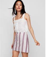 Express striped high waisted clean a-line mini skirt