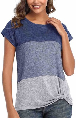 Furpazven Womens Summer Short Sleeve T Shirts Color Block Twist Tunic Comfy Tops Blouses Blue Grey M