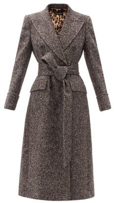 Dolce & Gabbana Double-breasted Wool-blend Tweed Longline Coat - Grey Multi