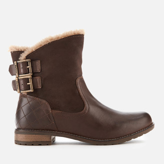 Barbour Women's Jessica Leather/Suede Buckle Flat Boots - Wine