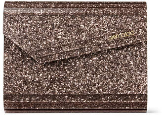 Jimmy Choo CANDY Bronze Galactica Glitter Acrylic Clutch Bag