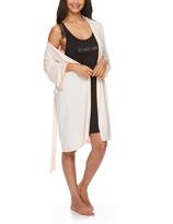 Bebe Women's Sleep Robes PPRL - Black & Light Pink Chemise & Robe Set - Women & Plus
