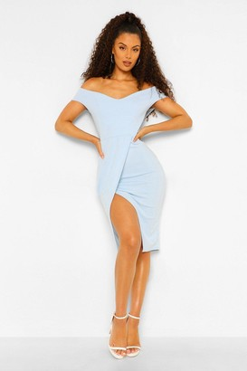 boohoo Off The Shoulder Wrap Skirt Midi Dress