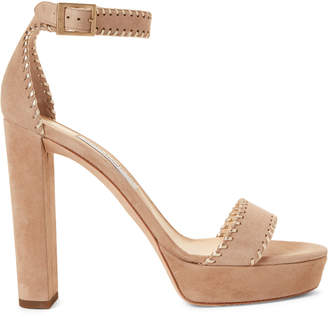 Jimmy Choo Nude & Champagne Holly Platform Suede Sandals
