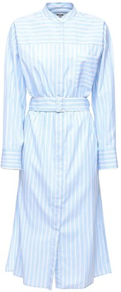 MSGM Striped Cotton Poplin Shirt Midi Dress