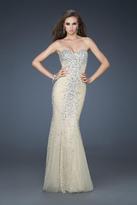 La Femme 18021 Embellished Strapless Trumpet Gown