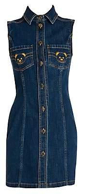 Moschino Women's Embroidered Bear Denim Dress