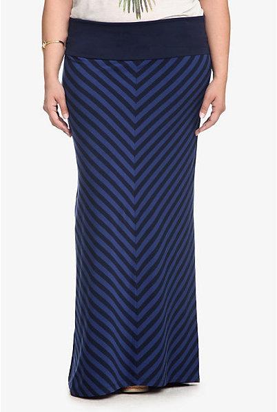 Torrid Blue Mitered Shadow Striped Maxi Skirt