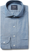 Drakes Drake's Blue Cutaway-Collar Cotton-Chambray Shirt
