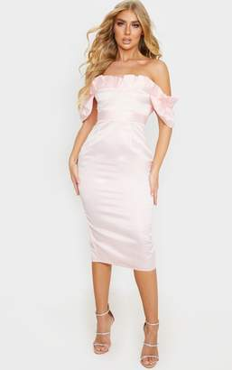 PrettyLittleThing Pink Bonded Satin Bardot Pleated Detail Midi Dress