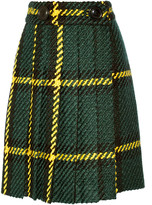 Miu Miu Pleated plaid wool and cotton-blend bouclé-tweed skirt