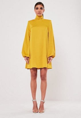 Missguided Mustard High Neck Mini Dress