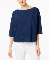 Eileen Fisher Denim Boat-Neck Boxy Top