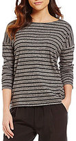 Eileen Fisher Bateau Neck Long Sleeve Striped Boxy Tee