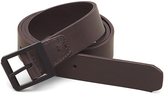 Kenneth Cole Leather Belt With Textured Metal Roller Buckle
