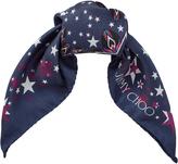 Jimmy Choo STAR Steel, Blue and White Printed Silk Foulard