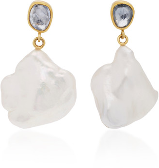 Mallary Marks Apple & Eve 18K Gold, Sapphire and Pearl Earrings