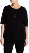 Lafayette 148 New York Ribbed Cashmere Sweater (Plus Size)