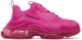 Balenciaga Pink Triple S Clear Sole Sneakers