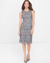 White House Black Market Silver Tonal Lace Sheath Dress