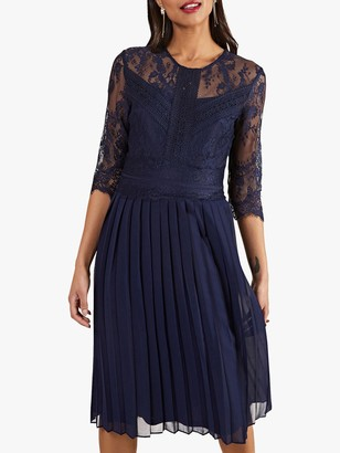 Yumi Pleated Lace Dress, Navy