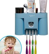 Kids Toothbrush Holder Toothpaste Dispenser with 2 Magnetic Suction kids Tooth Brush Cups, Raphycool Wall Mounted Toothpaste Squeezer Bathroom Organizer Countertop.(Blue)