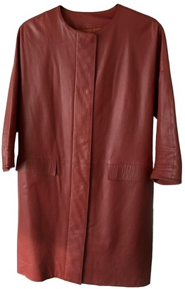 Longchamp Brown Leather Leather Jacket for Women