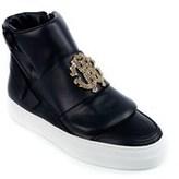 Roberto Cavalli Women's Black Zipped Hi-top Sneakers.