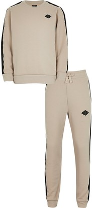 River Island Boys stone sweat and jogger set
