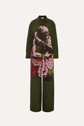 Valentino Printed Silk-georgette Jumpsuit - Army green